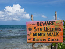 Beware of Sea Urchins Sign by the Sea Stock Photography