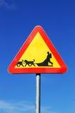 Beware of sledge dog team Stock Photo