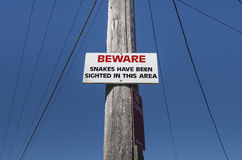 Beware of Snakes Stock Photo