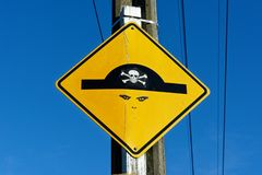 Pirate street sign royalty free stock photography