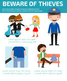 Beware of thieves ,infographic background concept. Vector Illustration Royalty Free Stock Image
