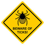 Beware of ticks! Yellow warning sign. Vector illustration. Warni. Ng of the infection risk from a tick bite. Black mite isolated on yellow Royalty Free Stock Images