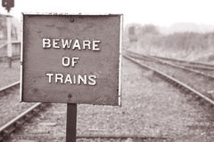 Beware of Train Warning Sign Royalty Free Stock Images