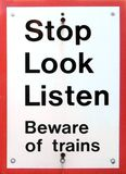 Beware Of Trains. Sign at a railway station  Beware Of Trains Stock Photography