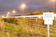 Beware of Trains Royalty Free Stock Photos