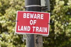 Beware of Trains sign Royalty Free Stock Image