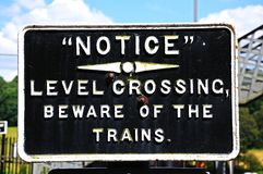 Beware of trains sign. Royalty Free Stock Photography