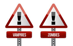 Beware of Vampires and Zombies illustration Royalty Free Stock Images