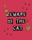 Beware van de kat Stock Foto's