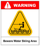 Beware water skiing area. Warning sign in yellow triangle isolated on white. Vector stock illustration. Summer Water Stock Image