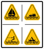 Beware water skiing, sailing, rowing, motorised craft area signs set. Warning signs in yellow triangle isolated on white Stock Photos