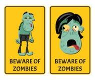 Beware of zombies label set stock illustration