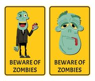 Beware of zombies label set with happy monster. Halloween party attribute with funny undead man, festive horror event stickers. Symbol collection with cute royalty free illustration