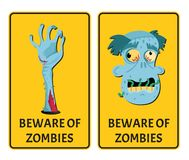 Beware of zombies labels with monster body parts. Halloween party attribute with funny undead man, festive horror event stickers. Symbol collection with cute stock illustration