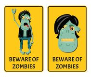 Beware of zombies labels with punk rocker monster. Halloween party attribute with funny undead man, festive horror event stickers. Symbol collection with cute vector illustration