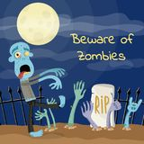 Beware of zombies poster with undead monster Stock Photography