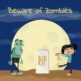 Beware of zombies poster with undead monsters Royalty Free Stock Images