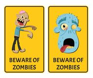 Beware of zombies sticker set with monster. Halloween holiday attribute with funny undead man, festive horror event labels. Symbol collection with cute walking stock illustration