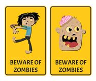Beware of zombies stickers with comic undead man Stock Photos