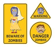 Beware of zombies warning stickers set. For halloween party. Holiday attribute with happy undead, festive horror event labels. Danger symbol collection with royalty free illustration