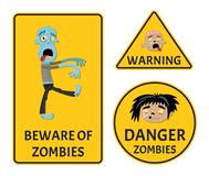 Beware of zombies warning stickers set. For halloween party. Holiday attribute with undead man, festive horror event labels. Danger symbol collection with cute vector illustration