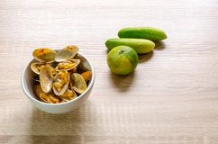 Beweeg Fried Clams met Geroosterd Chili Paste, Thais voedsel royalty-vrije stock foto