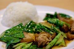 Beweeg gebraden boerenkool met knapperig varkensvlees en gestoomde rijst Stock Afbeelding