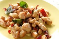 Beweeg gebraden kip met cashewnoten en gemengde kruidige kruiden Stock Afbeeldingen
