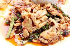 Beweeg gebraden kruidige kip Thais kruidig kruidvoedsel royalty-vrije stock foto