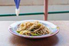 Beweeg gebraden rijstnoedels vegetarische Yangshuo Royalty-vrije Stock Fotografie