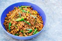 Beweeg gebraden varkensvlees met geel kerriedeeg, Thais voedsel Stock Fotografie