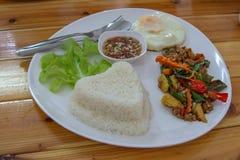 Beweeg het gebraden varkensvlees van het basilicumblad met rijst en zet het bewaarde ei stock afbeelding