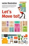 Bewegen in neues Wohnung infographics vektor abbildung