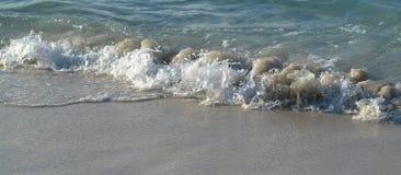 Bewegen Sie das Kommen in Ufer auf sandigem Strand wellenartig Stockfotos