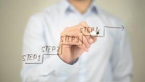 Bewegen Sie sich auf Erfolg, Mann-Schreiben auf transparentem Schirm Lizenzfreie Stockfotografie