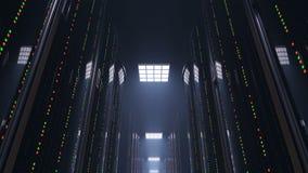 Bewegen zich langzaam door donkere serverruimte datacenter stock videobeelden