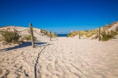 Bewegend duinenpark dichtbij Oostzee in Leba, Polen Stock Afbeeldingen