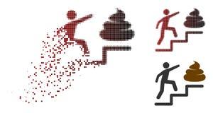 Bewegend Pixel Halftone Person Climb Shit Stairs Icon vector illustratie
