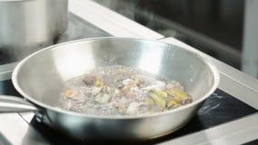 Bewegend zeevruchten in pan, sluit omhoog stock videobeelden