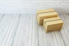 Bewegende dozen bij een nieuw huis Royalty-vrije Stock Afbeelding