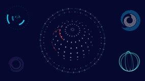 Bewegende futuristische HUD-Schnittstellenelemente Abstrakte Animation lizenzfreie abbildung