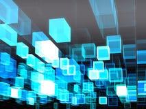 Bewegende kubussen - abstract digitaal geproduceerd beeld Stock Foto