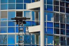 Bewegende lift die voor een verhuizing, een nieuw begin werken Stock Foto