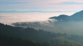 Bewegende mist meer dan delen van het bassin van Ljubljana in Slovenië stock videobeelden