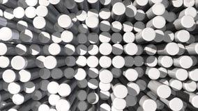 Bewegende textuurachtergrond van witte weerspiegelende uitgedreven cilinders stock video