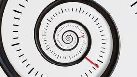 Bewegende tijdspiraal Spiraalvormige de Motieachtergrond van het Klok Naadloze Oneindige Gezoem Tijdsamenvatting Oneindigheidsklo stock illustratie