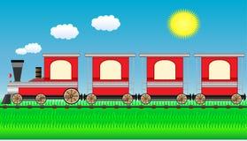 Bewegende trein op reislandschap Stock Afbeeldingen
