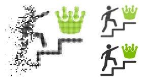 Bewegendes Pixelated-Halbton Person Steps To Crown Icon vektor abbildung