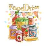 Beweging van de het voedselliefdadigheid van de voedselaandrijving de niet bederfelijke, kentekenillustraties Stock Afbeeldingen