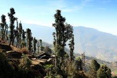 Beweging van de wolken op de bergen, Himalayagebergte, Nepal Stock Foto